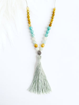 Turquoise Howlite & Cedarwood Necklace