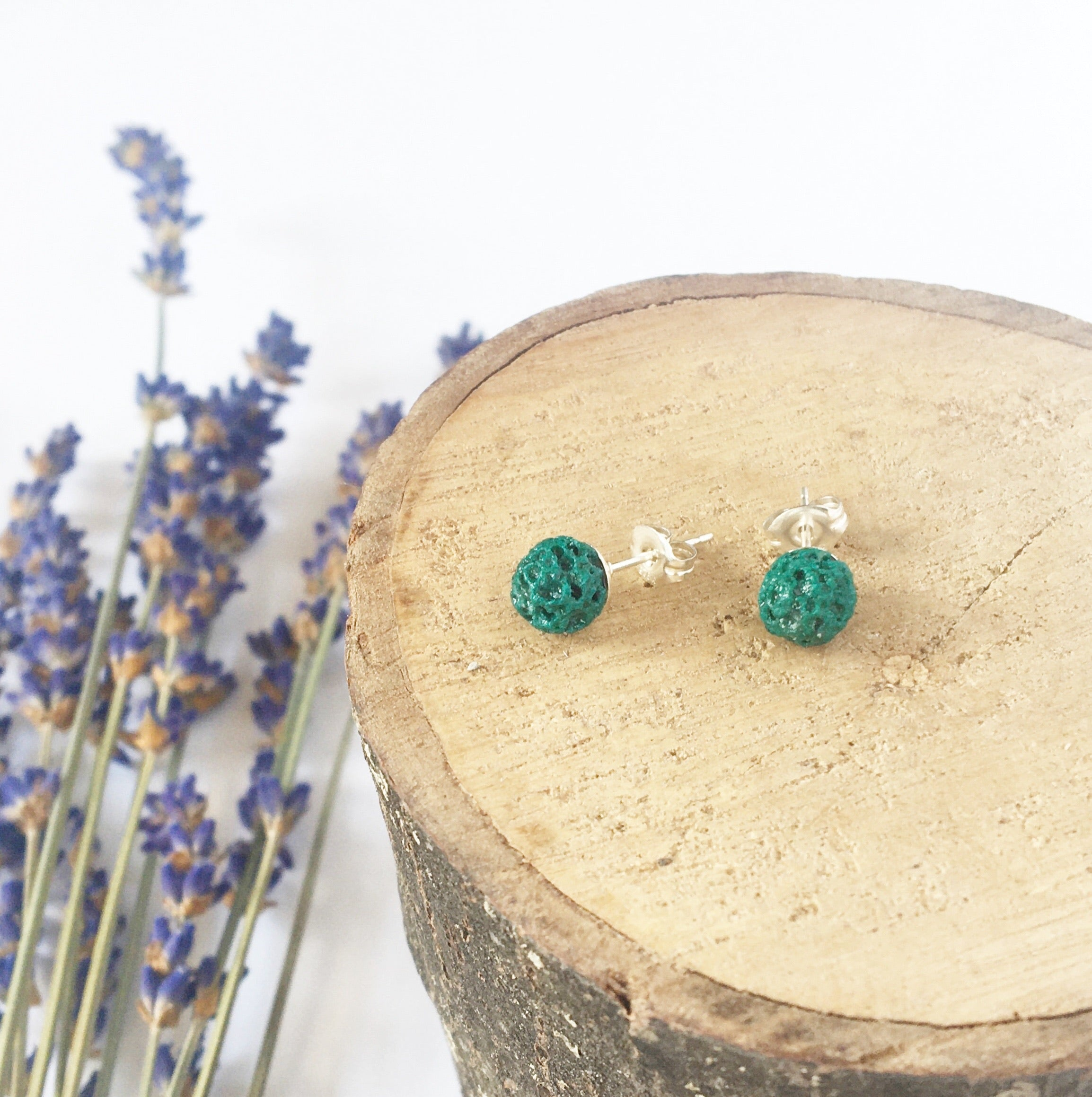 Emerald Green Lava Diffuser Earrings - Small 6mm