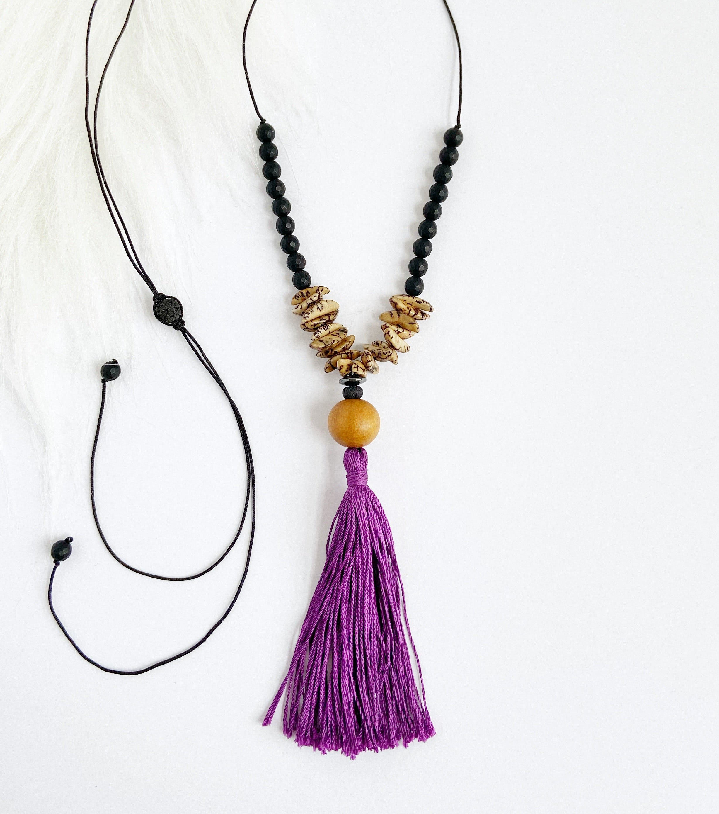 Jackfruit Wood & Onyx Necklace