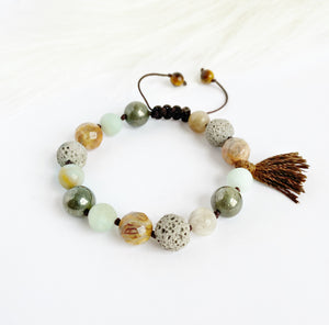 Lace Agate & Pyrite with Tassel