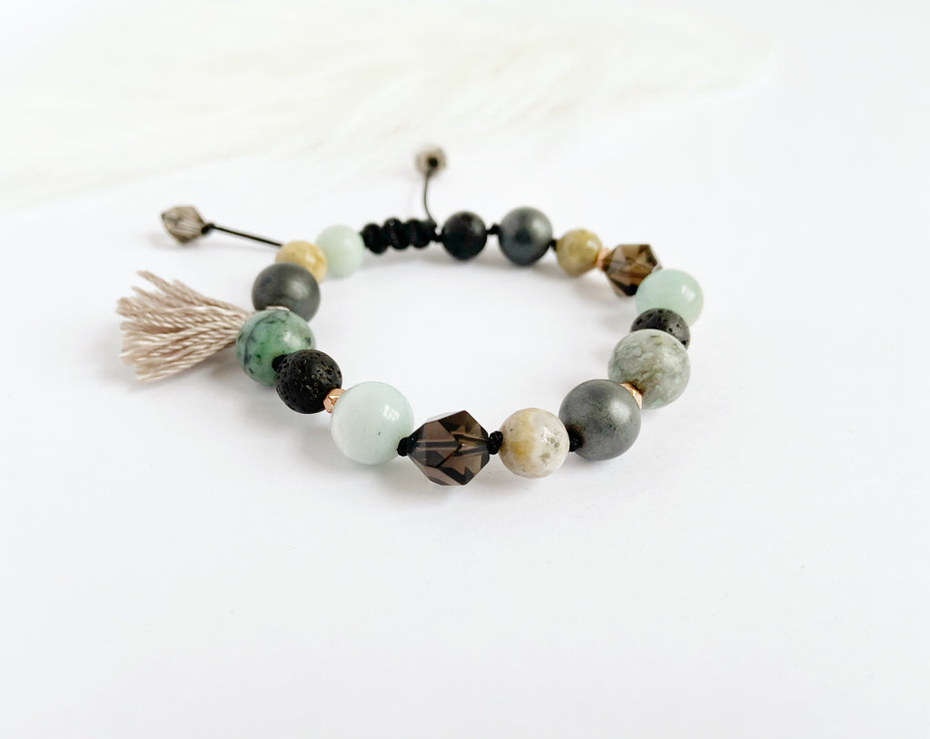 Smokey Quartz & Amazonite with Tassel