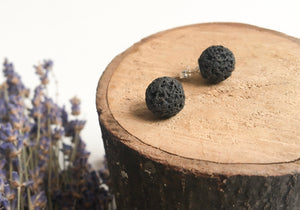 Black Lava Diffuser Earrings - Large 10mm