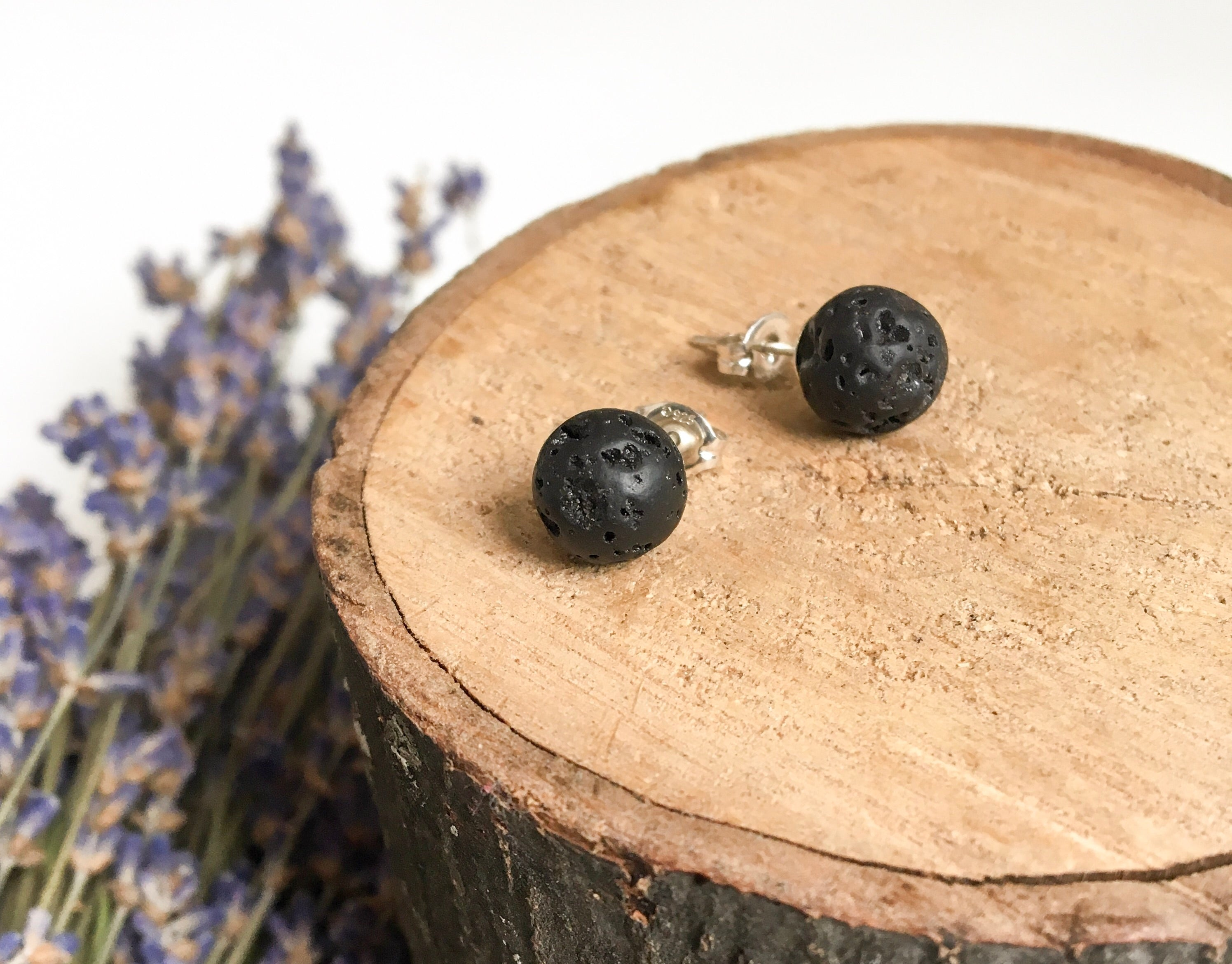 Black Lava Diffuser Earrings - Medium 8mm