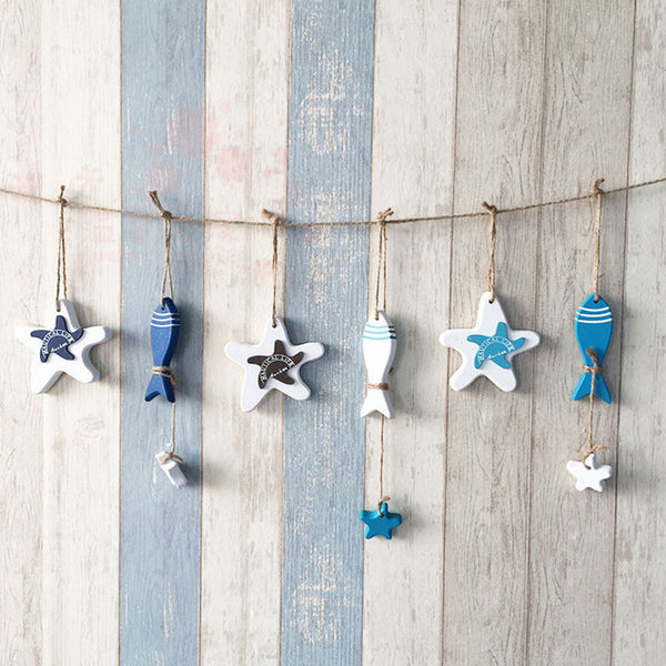 Mediterranean Starfish or Fish  - Nautical Decor - Hang Mini - Crafts Wood - 1 PC