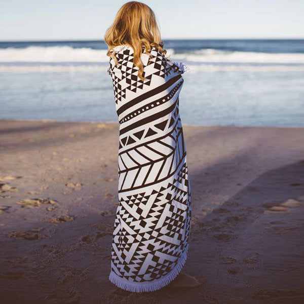 "Luxury ""Roundie"" Beach Towel With Tassels - Quick Dry Microfiber - 60in (150CM)"