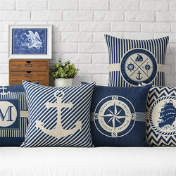 Marine & Anchor Cushion Cover - Cotton Linen