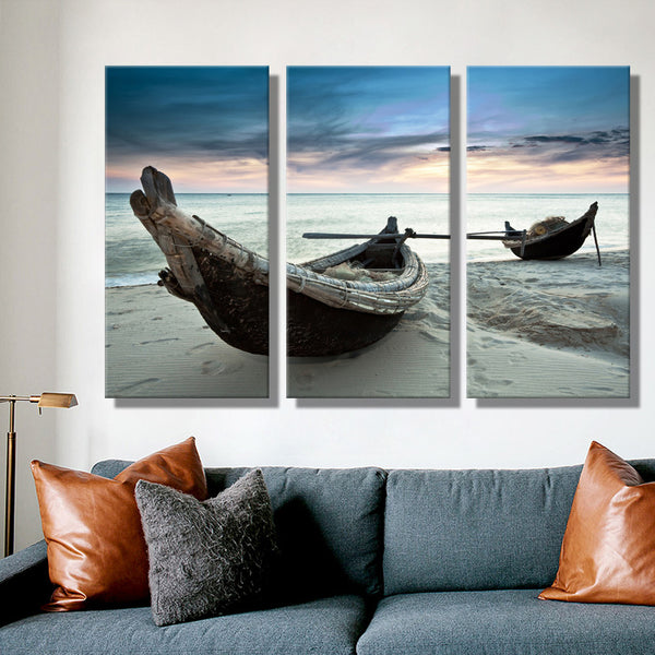 Oil Painting Canvas - Beach Landscape Wall Art - 3PCS - No Frame