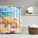Fabric Shower Curtain with Hooks - Choose from 6 Different Seascape Scenes