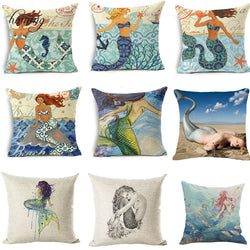 Mermaid Pattern Cushion Cover Linen - Textile Printing