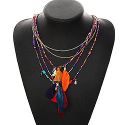 Multi-Color Necklace - Feather, Pendants & Beads