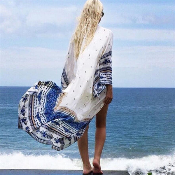 Romantic Beach Long Kimono Beach Cover Up