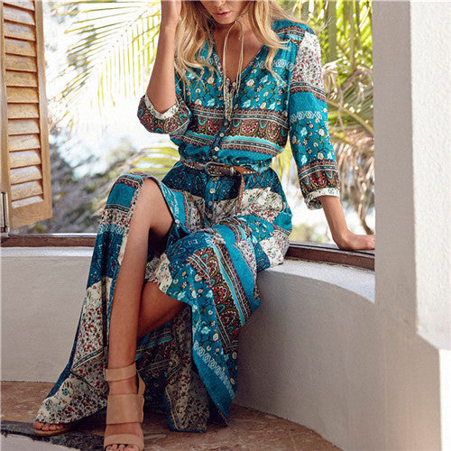 Vintage Print Beach Dress - Maxi Length - 3 Colors