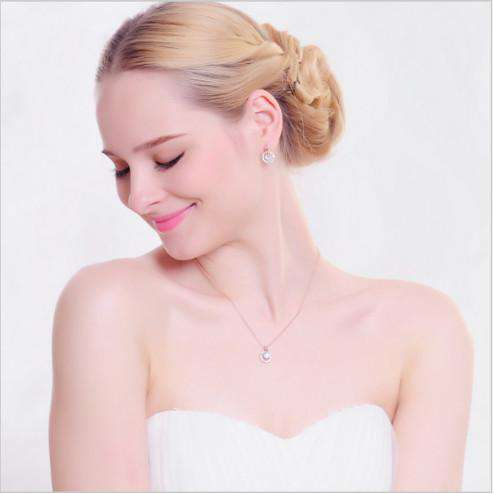 Rose Gold Necklace Rose Gold Earrings Clear Crystal Splendid