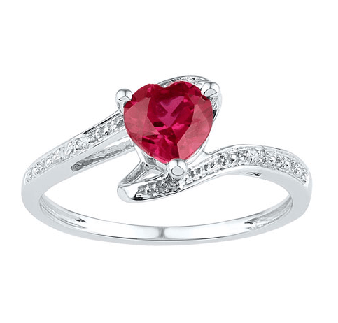Classic Style with a Ruby Heart Sterling Silver Diamond Ring Splendid Jewellery