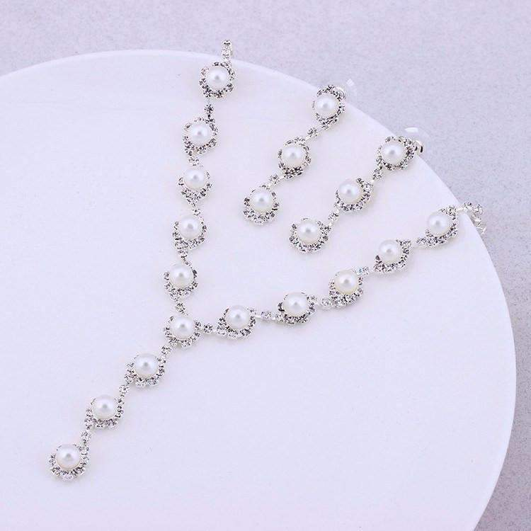 Simulated Pearl Wedding Jewelry Set With Silver Color Necklace Earri