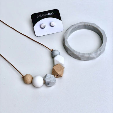 Jambu Beads non-toxic silicone jewellery & teething accessories - Rosalina Necklace (White) with Marble Bangle & white earrings