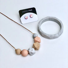 Jambu Beads non-toxic silicone jewellery & teething accessories - Rosalina Necklace (Blush) with Marble Bangle & pink earrings