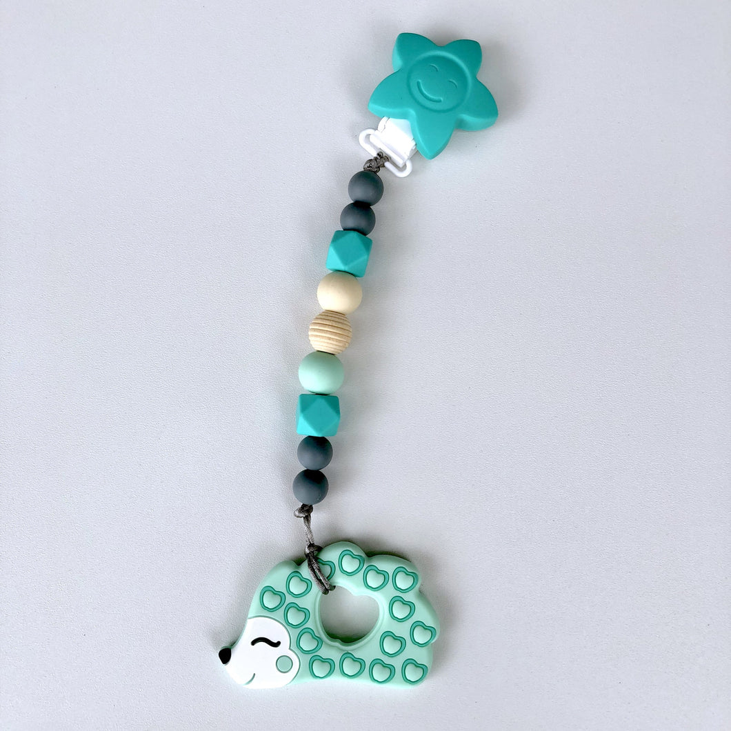 Jambu Beads non-toxic silicone jewellery & teething accessories - Serenity Clip-On Teether (Mint Hedgehog)
