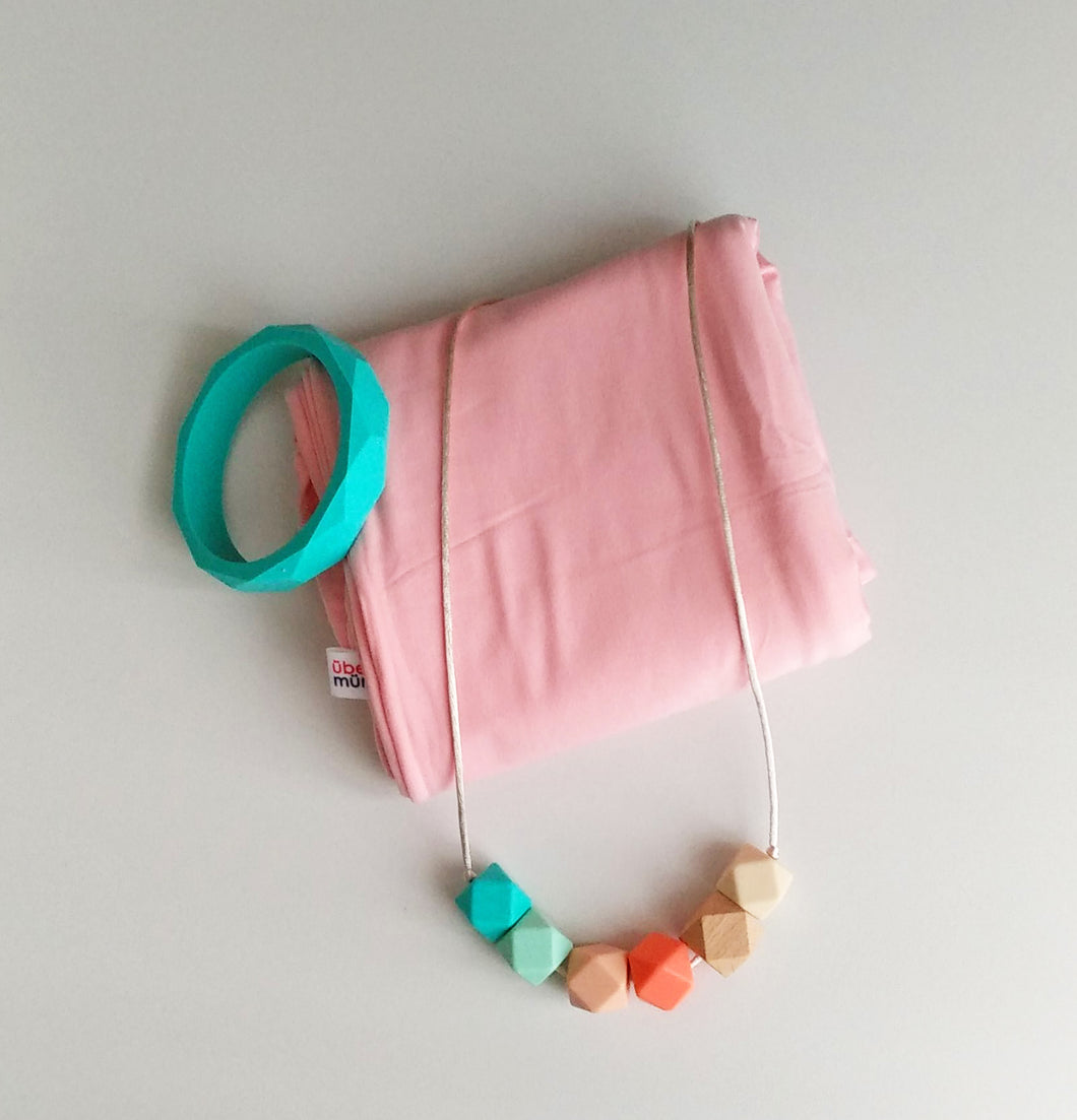 Jambu beads non-toxic silicone jewellery & teething accessories - Ariella Necklace & Bangle + Nursing Poncho Gift Set