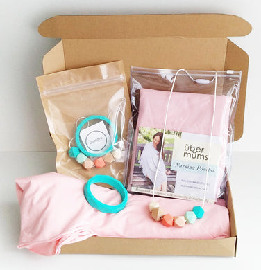 Jambu beads non-toxic silicone jewellery & teething accessories - Ariella Necklace & Bangle + Nursing Poncho Gift Set With Gift Box