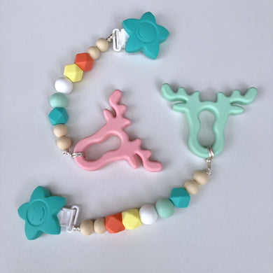 Jambu Beads non-toxic silicone jewellery & teething accessories - Joy Clip-On Teether (Antlers)