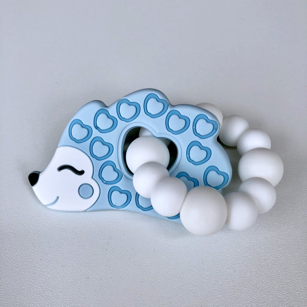 Jambu Beads non-toxic silicone jewellery & teething accessories - Hedgehog Ring Teether (Blue)