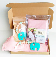 Jambu beads non-toxic silicone jewellery & teething accessories - Harmony Clip-On Teether + Blush Pink Nursing Poncho Gift Set With Gift Box