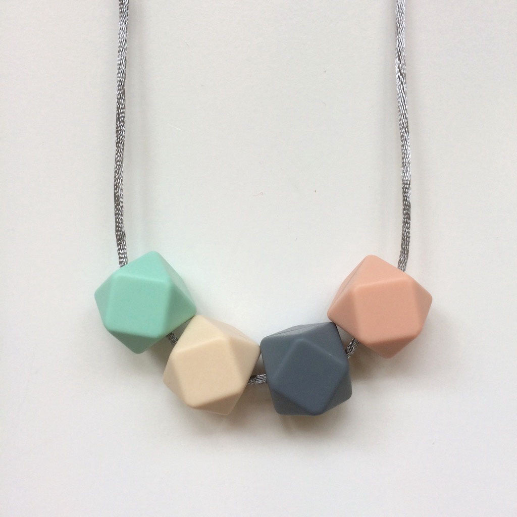Jambu beads non-toxic silicone jewellery & teething accessories - Serenity Necklace in mint & blush