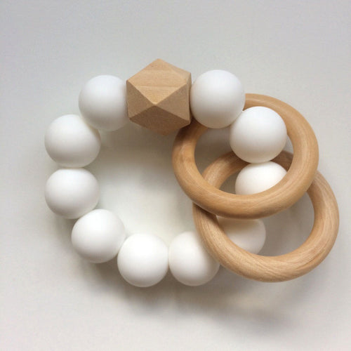 Jambu beads non-toxic silicone jewellery & teething accessories - Duo Rattle Teether in White