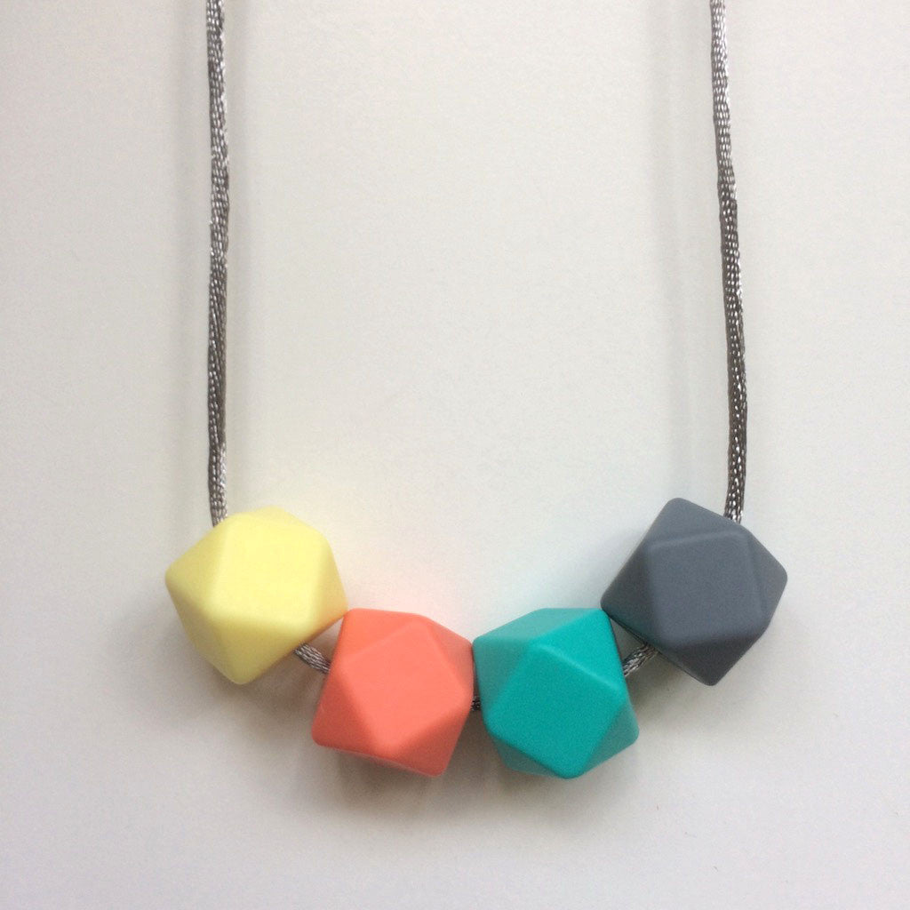 Jambu beads non-toxic silicone jewellery & teething accessories - Joy Necklace in silver