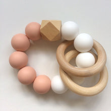 Jambu beads non-toxic silicone jewellery & teething accessories - Duo Rattle Teether in Blush & White