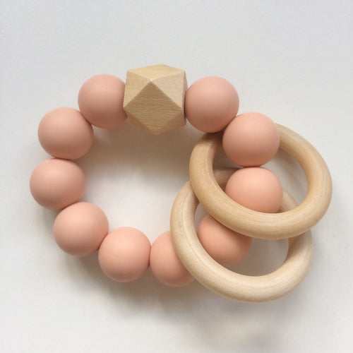 Jambu beads non-toxic silicone jewellery & teething accessories - Duo Rattle Teether in Blush