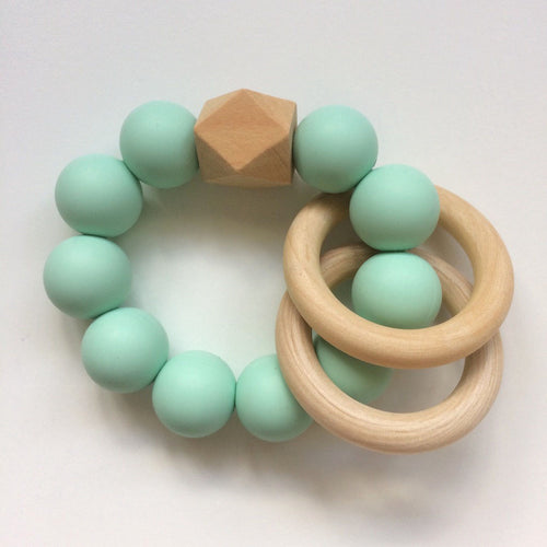 Jambu beads non-toxic silicone jewellery & teething accessories - Duo Rattle Teether in Mint