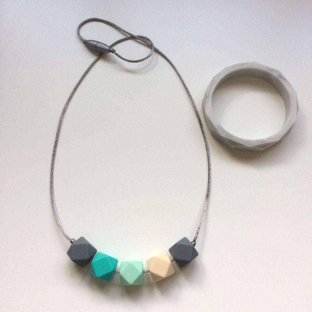 Jambu beads non-toxic silicone jewellery & teething accessories - Quinto Necklace (Turquoise & Grey) & Bangle Set