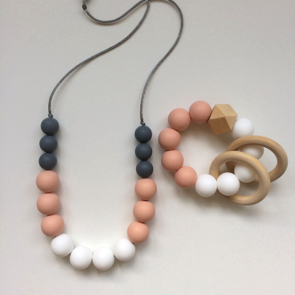 Jambu beads non-toxic silicone jewellery & teething accessories - Peony Mum & Bub Set