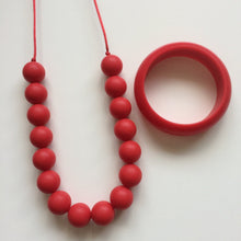 Jambu Beads non-toxic silicone jewellery & teething accessories - Poppy Necklace (Red) & bangle set