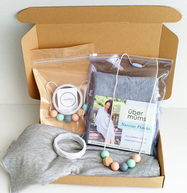Jambu beads non-toxic silicone jewellery & teething accessories - Ophelia Necklace & Bangle + Nursing Poncho Gift Set With Gift Box
