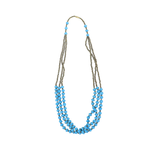 Teal Blue Paper Bead Necklace