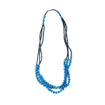 Teal Blue & Black Paper Bead Necklace