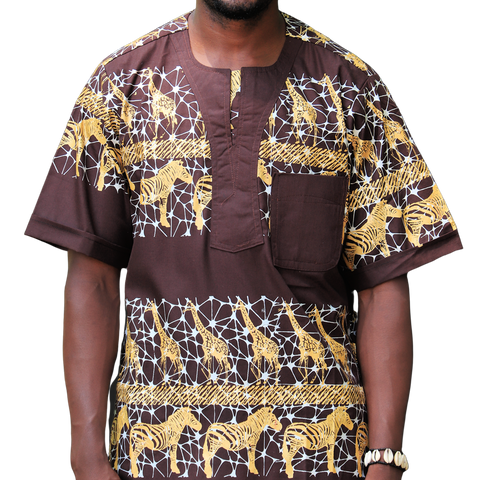 Brown & Gold East African Men's Classic Design Shirt