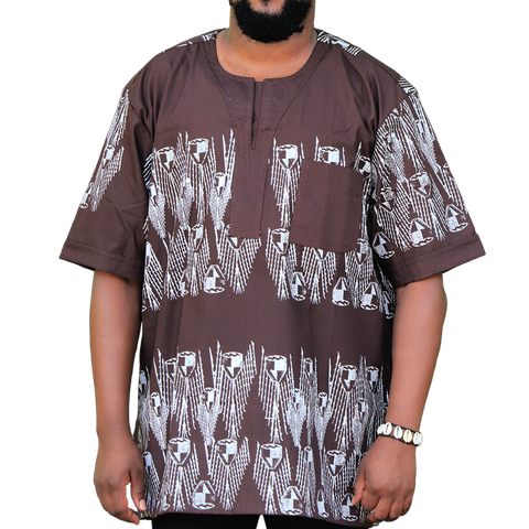 Brown & White East African Men's Classic Design Shirt