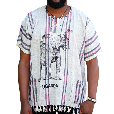 East African Fringed Shirt - Elephant