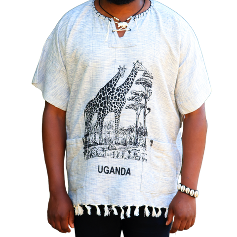 East African Fringed Shirt - Giraffe