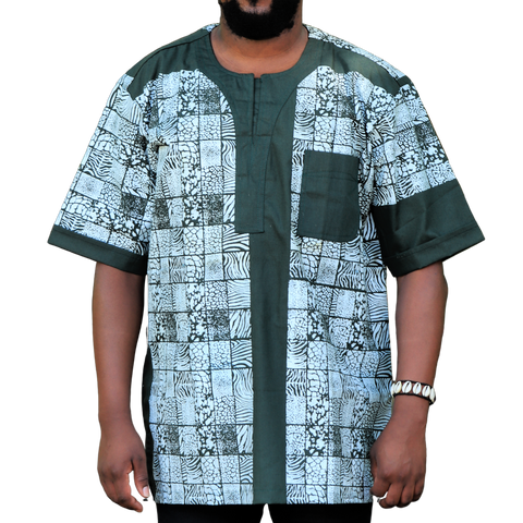 Green & White East African Men's Classic Design Shirt