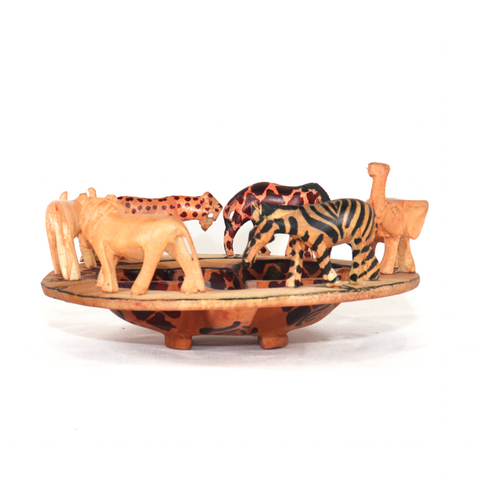 Safari Animal Hand Carved Wooden Decorative Bowl