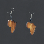 Brown African Map Earrings