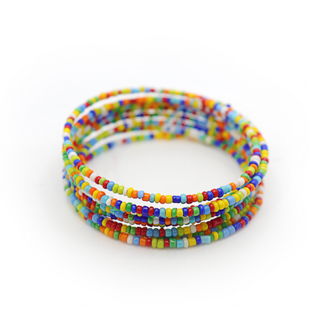 Multi-Color Beaded Spiral Bracelet