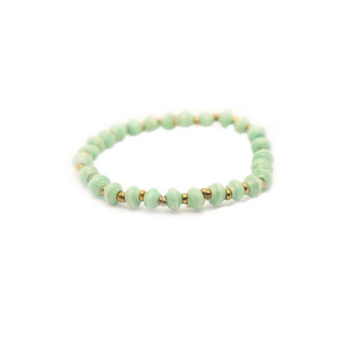 Mint Green Paper Bead Bracelet