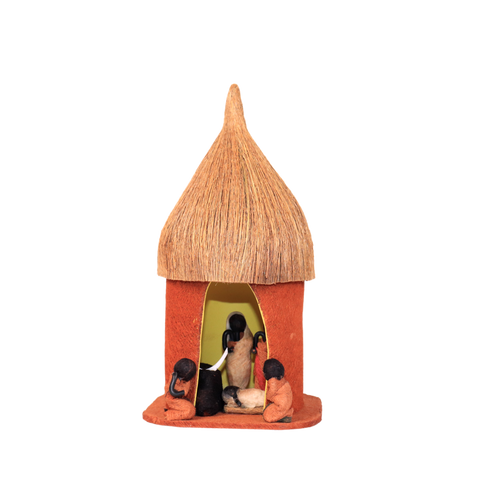 African Hut nativity - Barkcloth