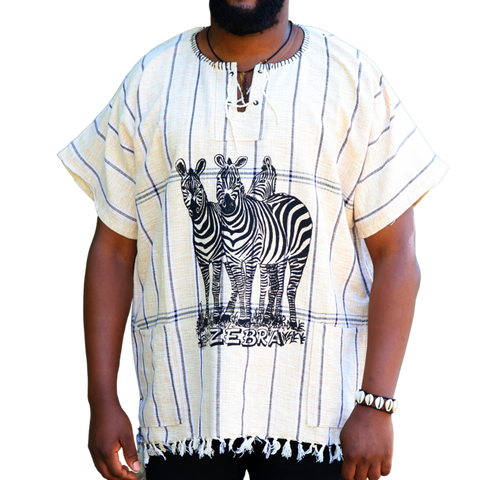 East African Fringed Shirt - Zebra